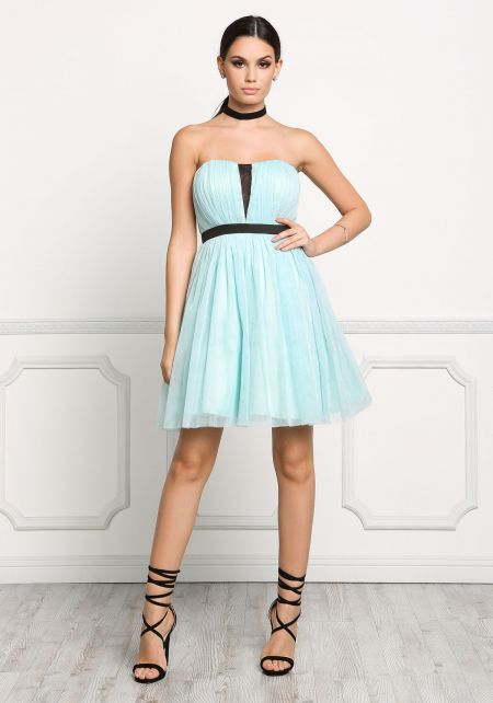 Mint Strapless Tulle Flare Dress