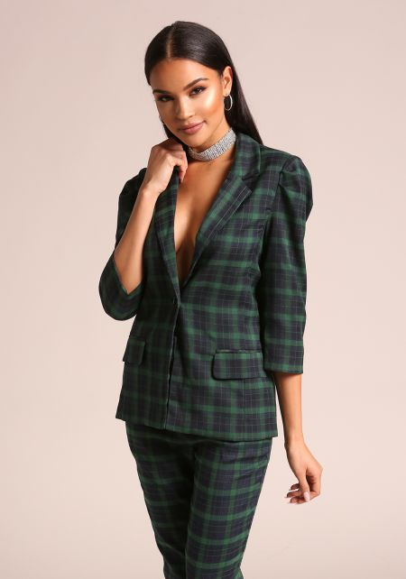 Green Plaid Single Breasted Blazer
