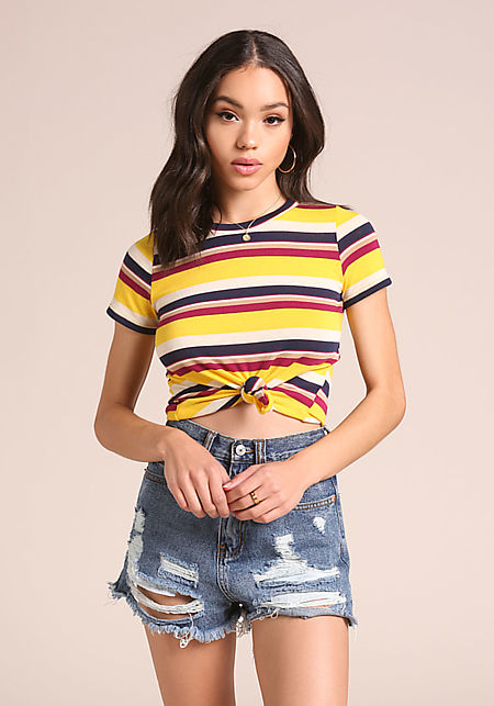 Yellow Multi Color Stripe Crop Top