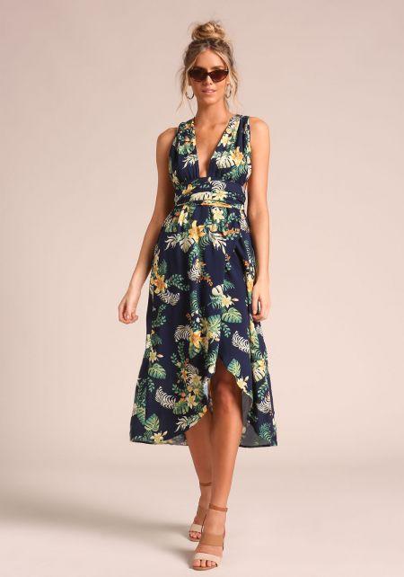 Navy Floral Magic Tie Maxi Dress