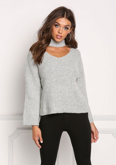 Heather Grey Turtleneck Cut Out Thick Knit Sweater