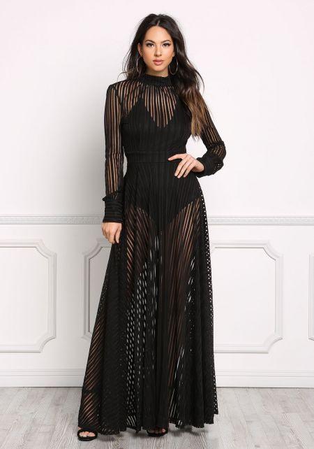 Black Stripe Mesh Open Back Maxi Gown