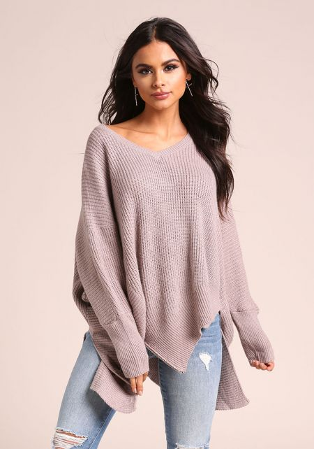 Lilac Thick Knit Zipper Asymmetrical Sweater Top
