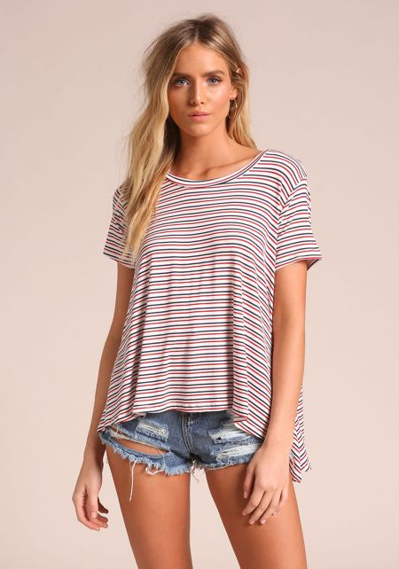 Multi Stripe Hi-Lo Knit Tee