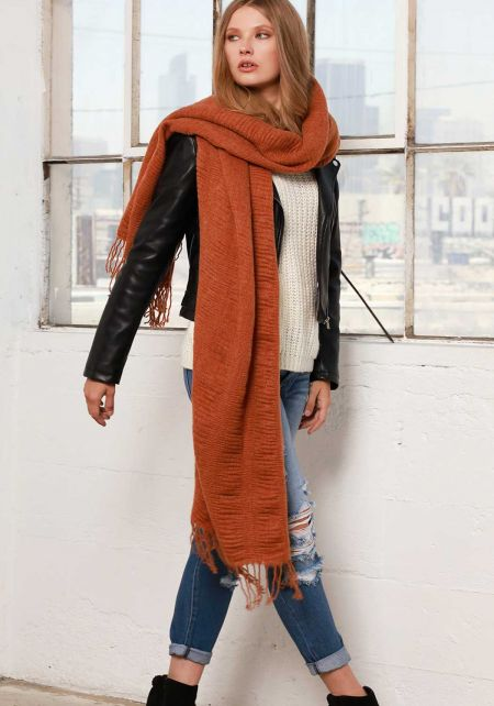 Rust Soft Thick Knit Scarf