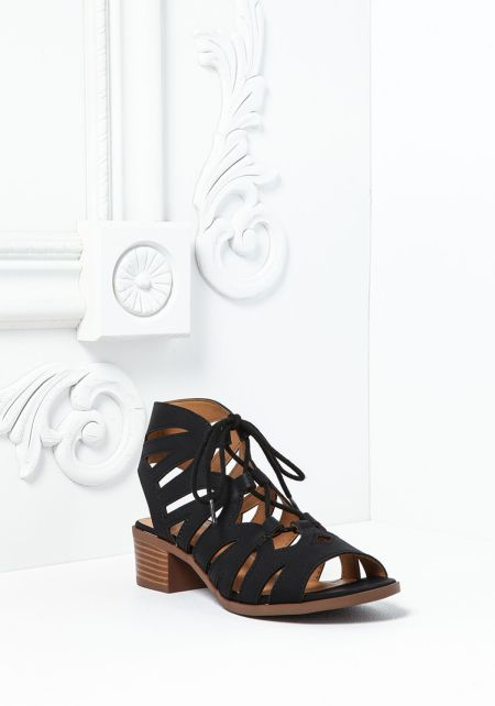Black Leatherette Lace Up Cut Out Sandals