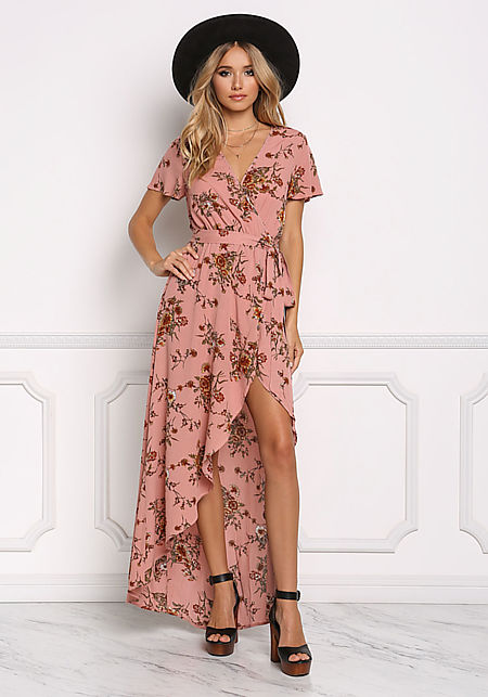 Dark Mauve Floral Crepe Shorts Maxi Dress