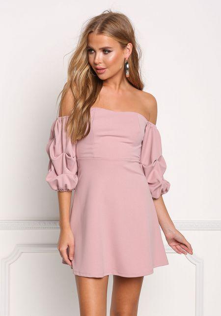 Mauve Off Shoulder Flared Dress