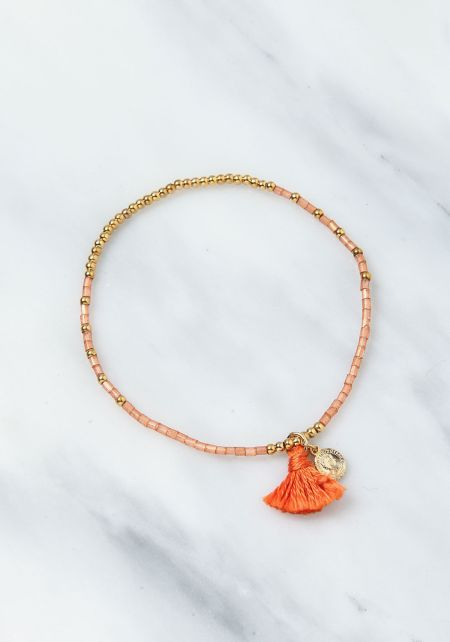 Orange Beaded Tassel Bracelet