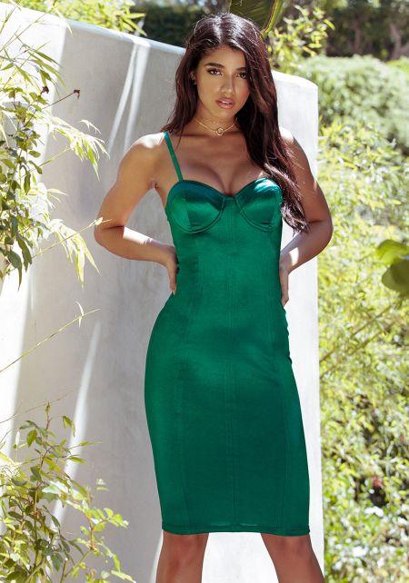 Hunter Green Satin Bustier Bodycon Dress