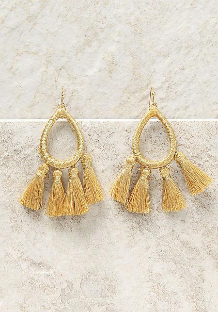 Gold Yarn Fringe Tassel Earrings