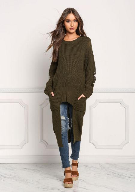 Olive Frayed Hi-Lo Sweater Top