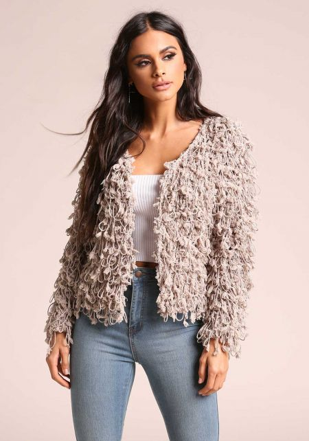 Taupe Shaggy Knit Coat
