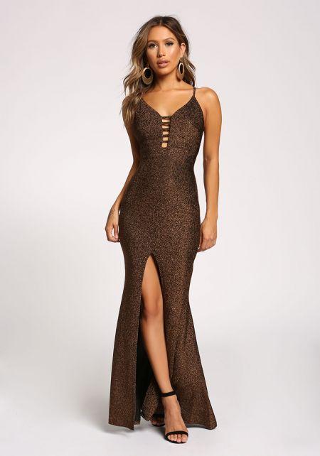 Gold Shimmer High Slit Mermaid Gown