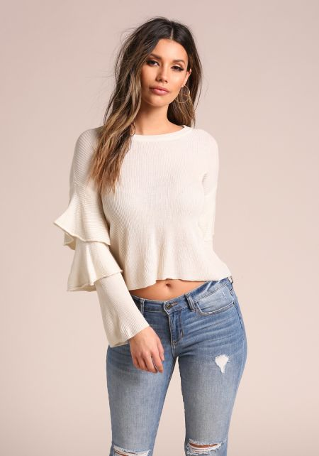 Cream Tiered Bell Sleeve Sweater Knit Top