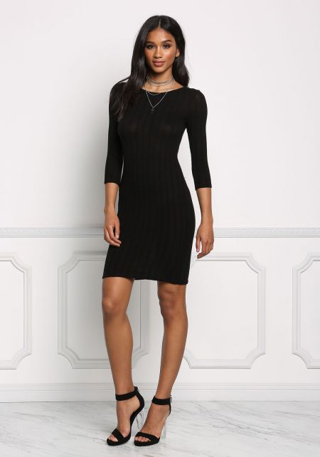 Black Basic Ribbed Knit Bodycon Dress