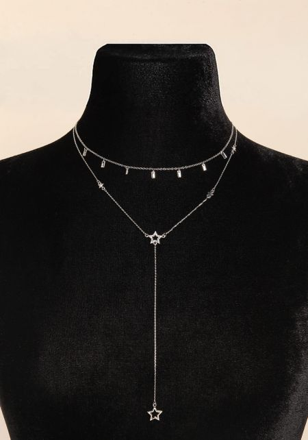 Silver Star Drop Chain Delicate Necklace