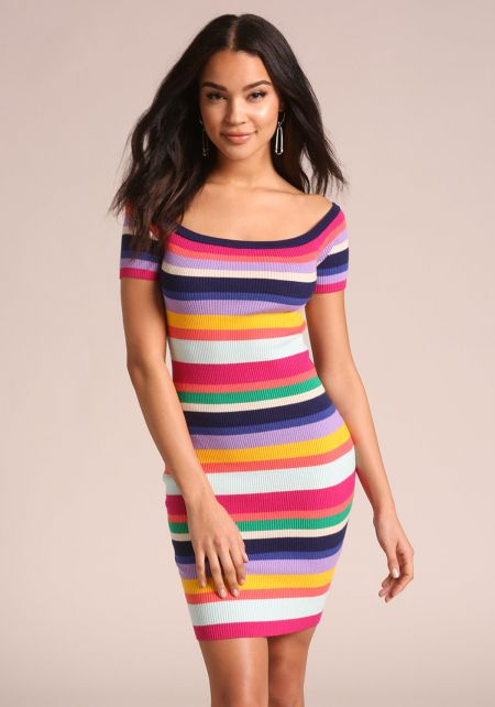 Multi Colored Stripe Off Shoulder Dress