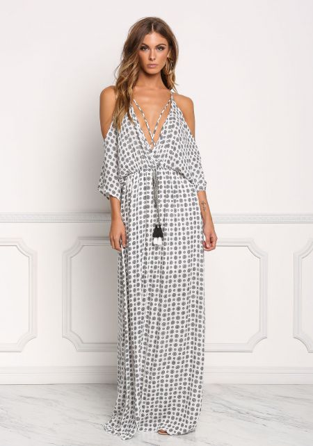 White and Black Printed Crepe Cold Shoulder Maxi D