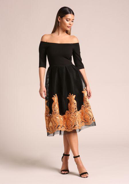 Black Off Shoulder Embroidered Flared Dress