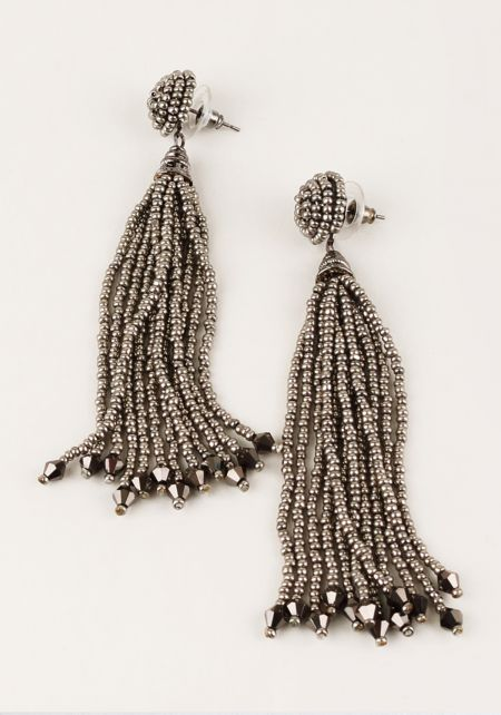 Black Beaded Stud Tassel Earrings