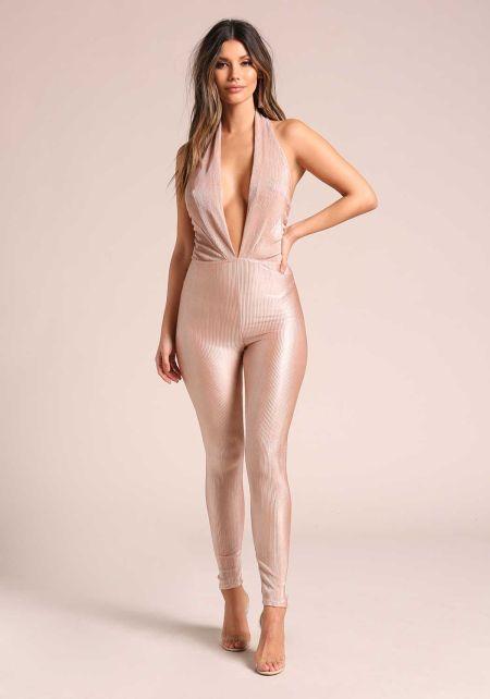 Nude Shimmer Plunge Halter Jumpsuit