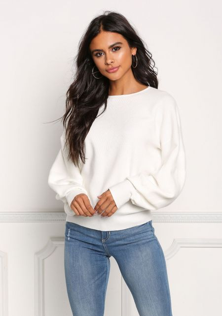 Cream Ribbed Knit Puffy Sleeve Sweater Top