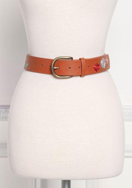 Brown Floral Engraved Leatherette Belt