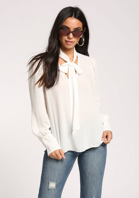 White Neck Tie Puff Sleeve Blouse