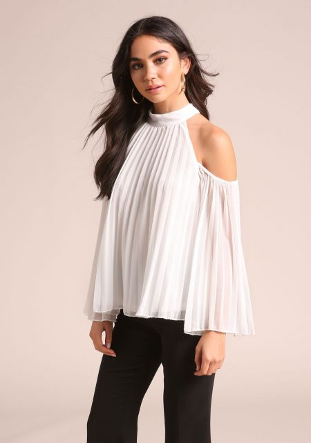 White Pleated Cold Shoulder Blouse