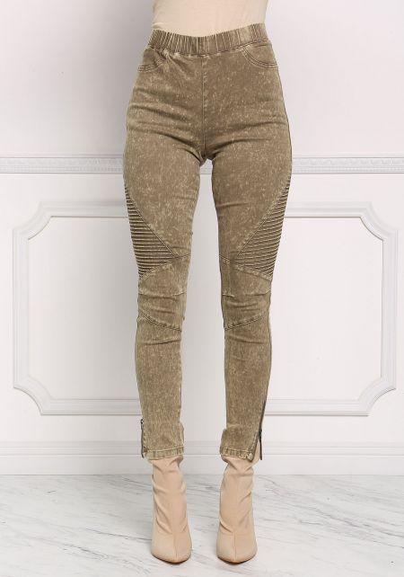Olive Acid Wash Embossed Zipper Pants