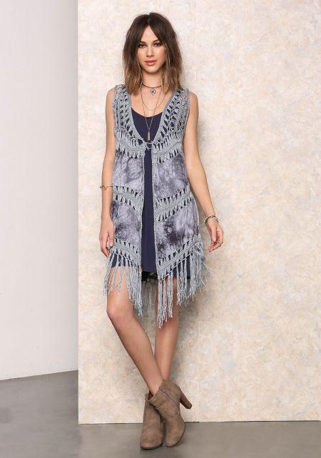 Light Blue Tie Dye Fringe Crochet Vest