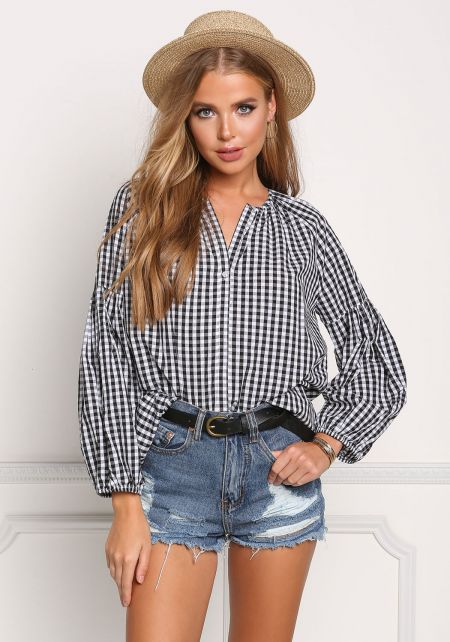 Black and White Gingham Boxy Blouse