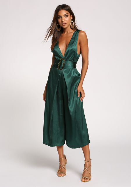 Hunter Green Silky Belted Culottes Jumpsuit