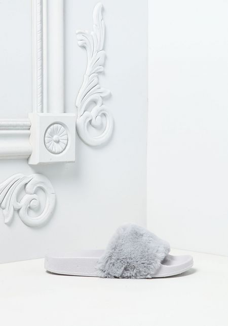Grey Faux Fur Slide Sandals