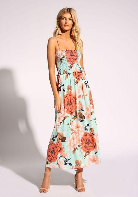 Blue Floral Smocked Maxi Dress