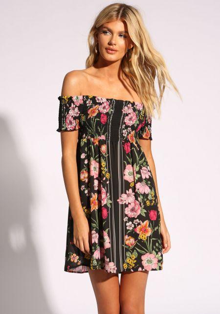 Black Floral Off Shoulder Shift Dress