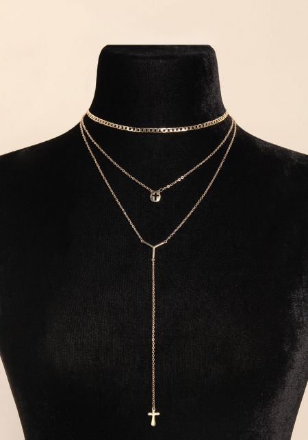 Gold Layered Cross Pendant Drop Necklace