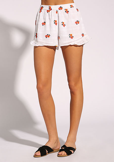 White Floral Embroidered Ruffle Shorts