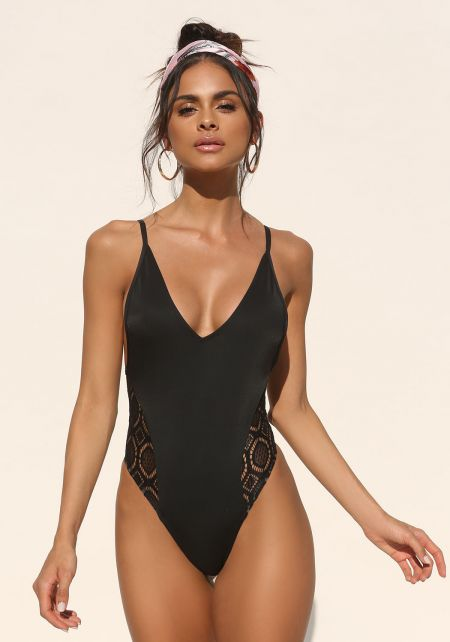 Black Side Crochet Plunge Swimsuit Monokini