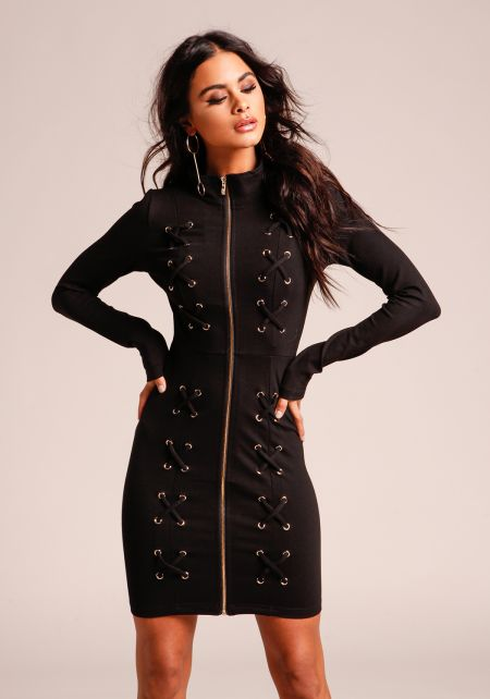 Black X Strap Zip Down Bodycon Dress