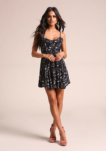 Navy Floral Crepe Lace Up Flared Dress