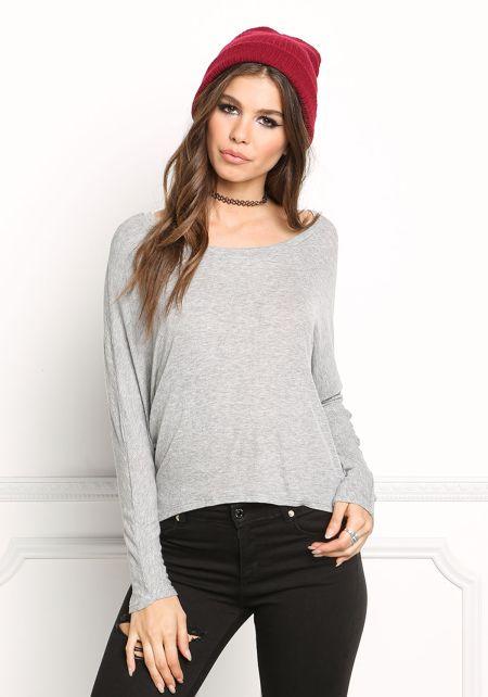 Heather Grey Ribbed Knit Hi-Lo Top