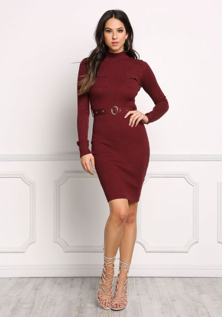 Burgundy Cinched Ribbed Knit Bodycon Dress