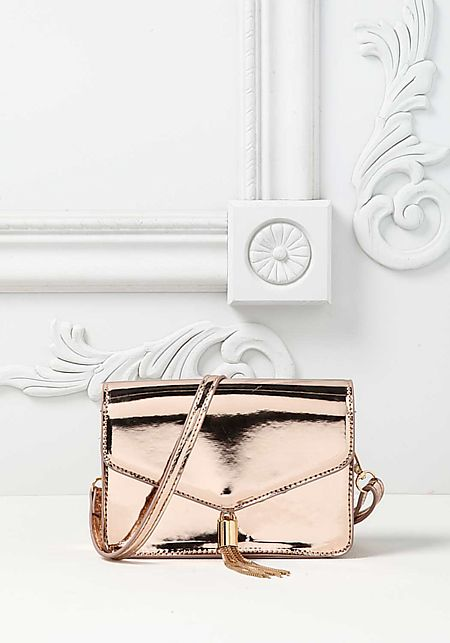 Rose Gold Chrome Tassel Envelope Crossbody Bag