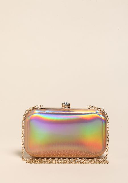 Rose Gold Holographic Rhinestone Clutch
