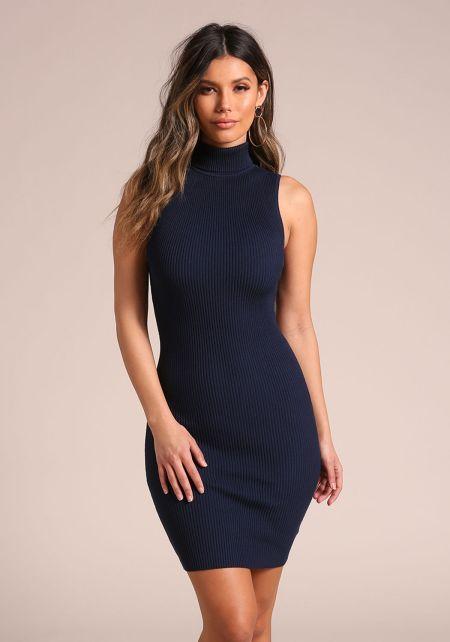 Navy Ribbed Knit Bodycon Dress