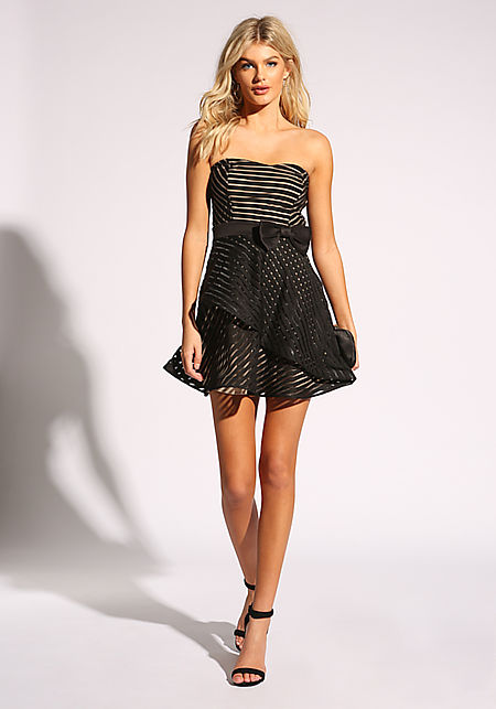 Black Strapless Flared Bow Dress