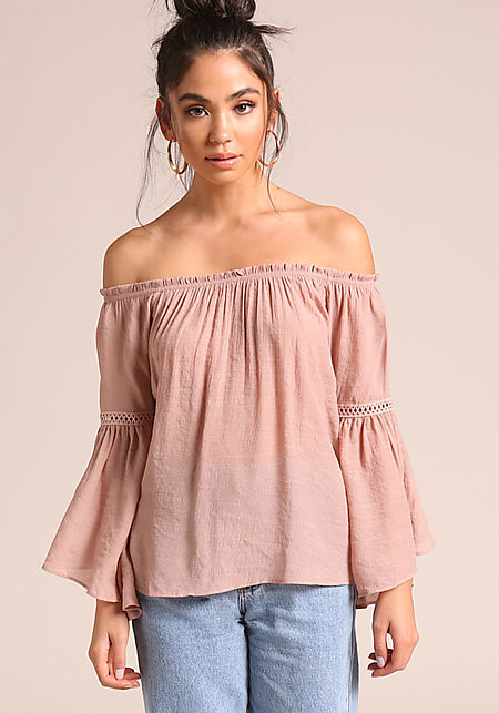 Mauve Gauze Off Shoulder Bell Sleeve Blouse