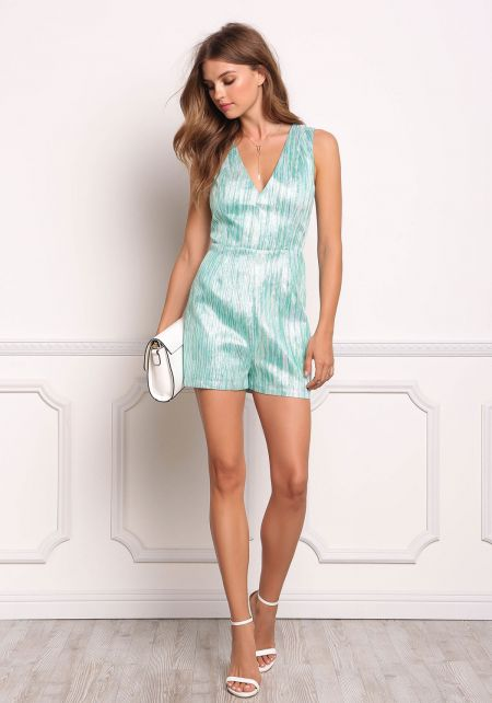 Mint Metallic Stripe Sheer Trim Romper